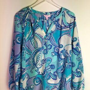 Lilly Pulitzer Blue's Ocean Print Elsa Silk Top